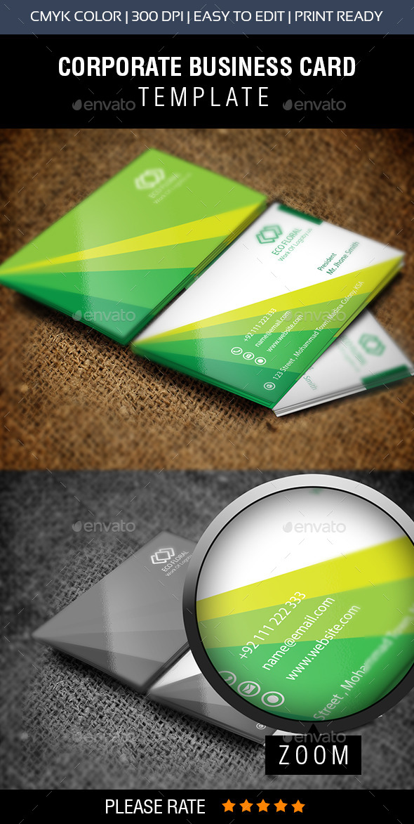 GraphicRiver Green & Eco Fair Business Card 10415219