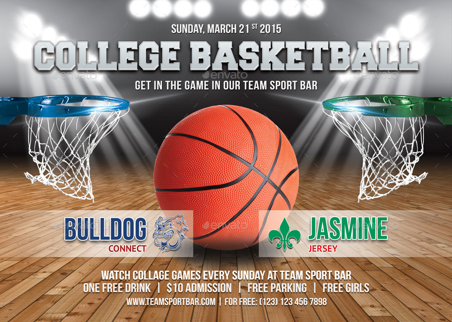 college basketball game flyer template 62 by 21min