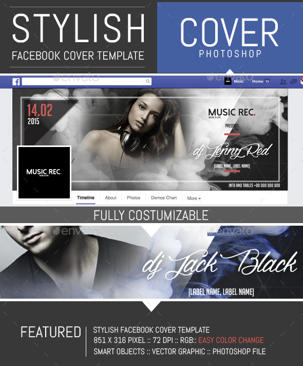 GraphicRiver Elegant Party and Dj Facebook Cover Template 10415950