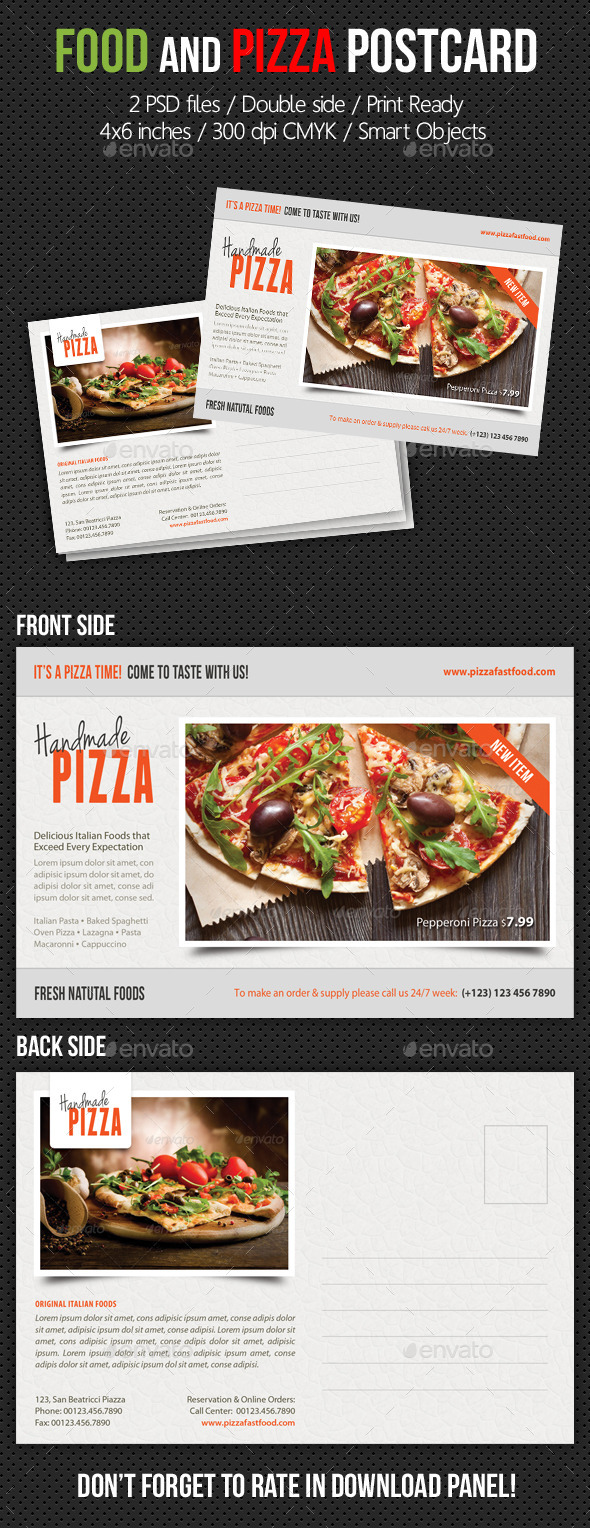 GraphicRiver Food and Pizza Postcard Template V02 10416485