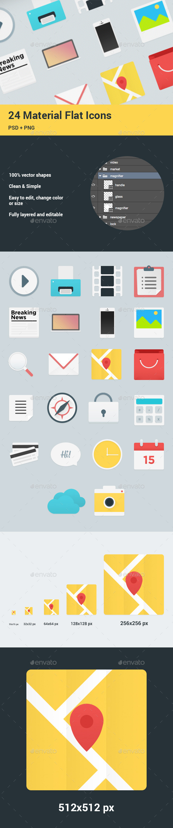 GraphicRiver 24 Flat Material Icons Set 10417010