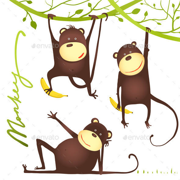 GraphicRiver Monkey Fun Cartoon Hanging on Vine with Banana 10417270