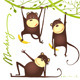 Monkey Fun Cartoon Hanging on Vine with Banana - GraphicRiver Item for Sale