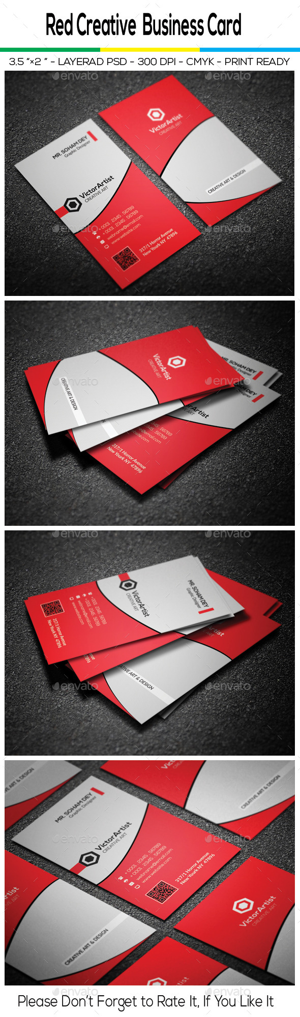 GraphicRiver Red Creative Business Card 10417313