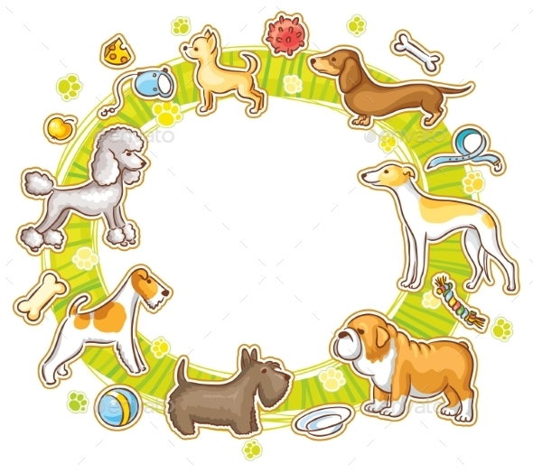 GraphicRiver Round Frame with Cartoon Dogs 10417568