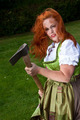 Red hair girl in pin-up style with a bavarian german dress with - PhotoDune Item for Sale
