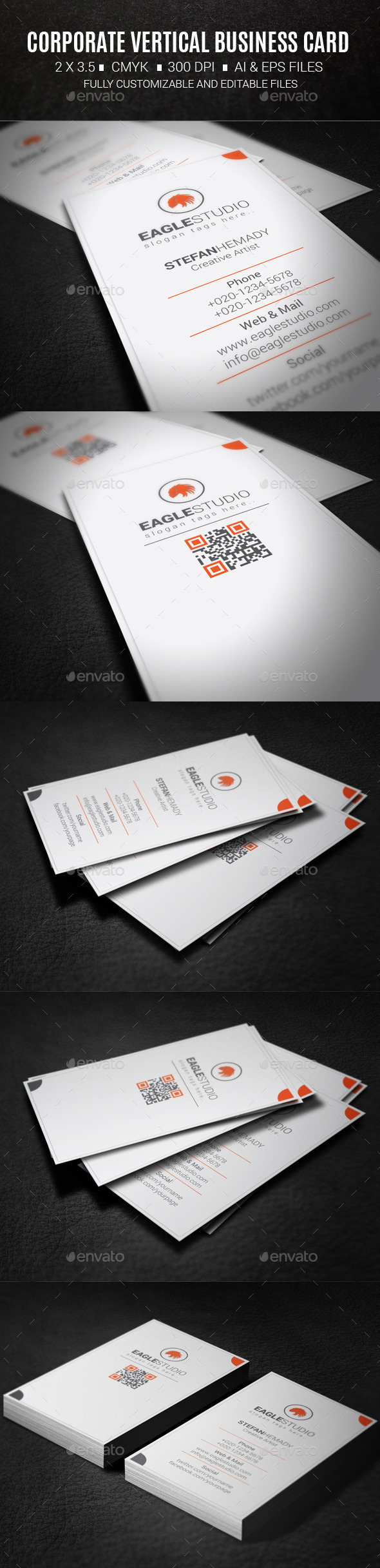 GraphicRiver Corporate Vertical Business Card 10418861