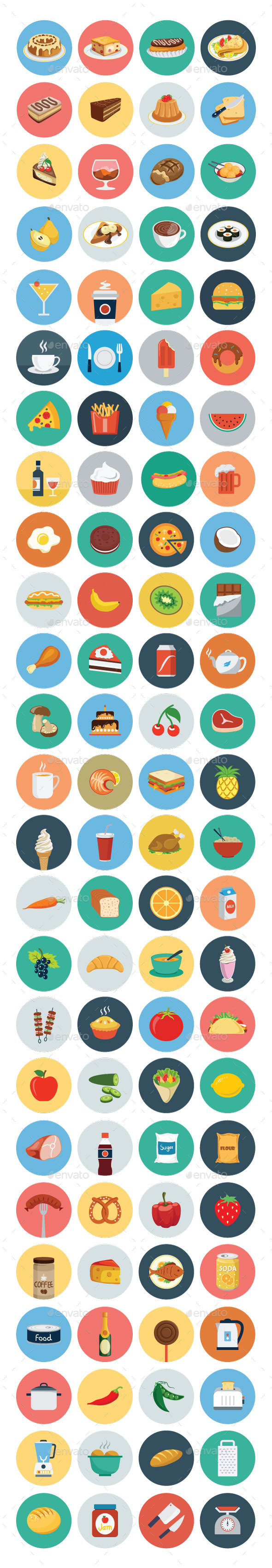 GraphicRiver 100 Food Flat Icons 10419023