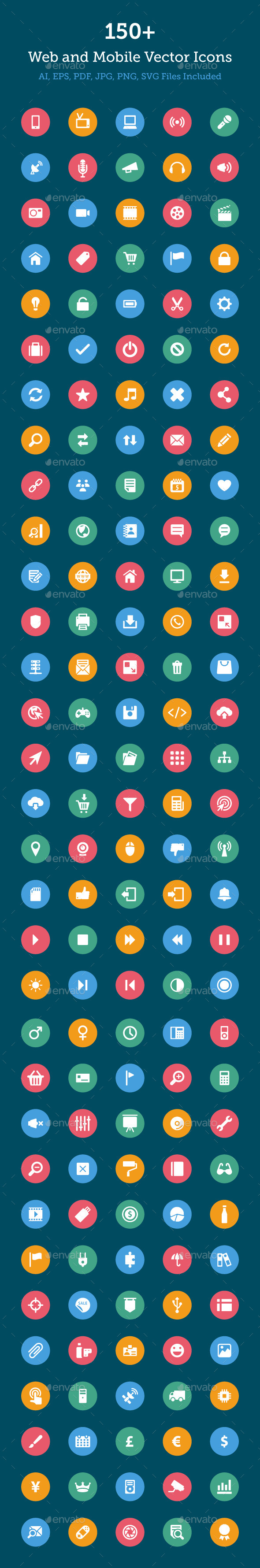GraphicRiver 150& Web and Mobile Vector Icons 10419104