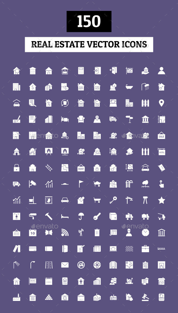 GraphicRiver 150 Real Estate Vector Icons 10419145