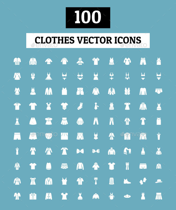 GraphicRiver 100 Clothes Vector Icons 10419445