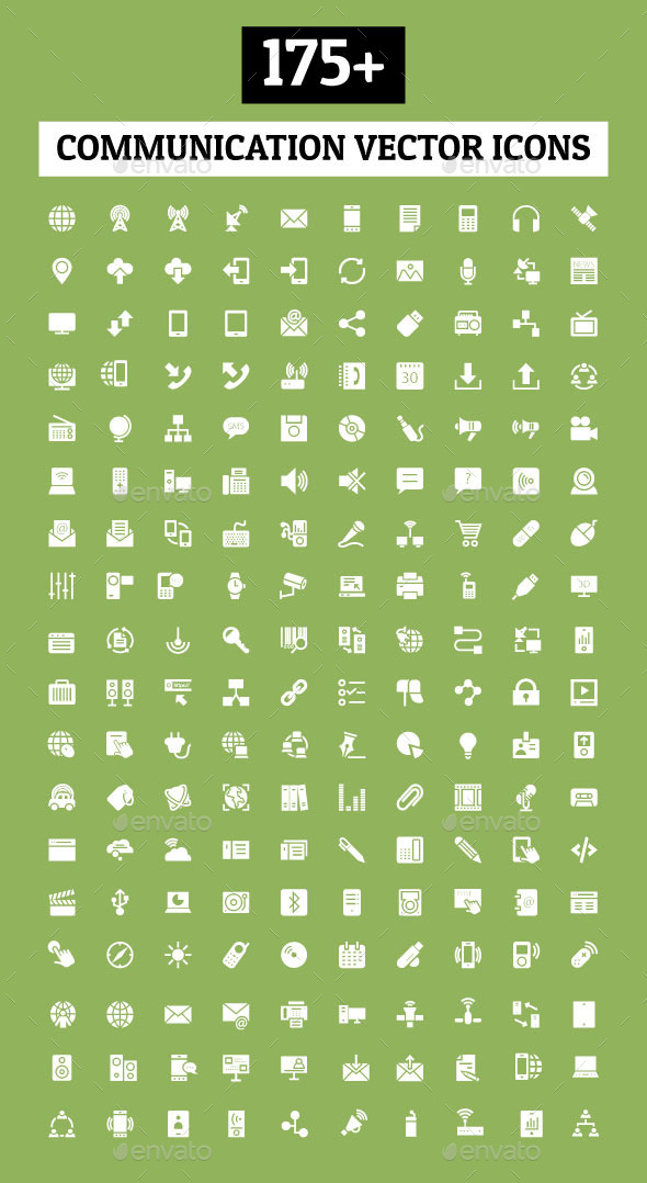 GraphicRiver 175& Communication Vector Icons 10419472
