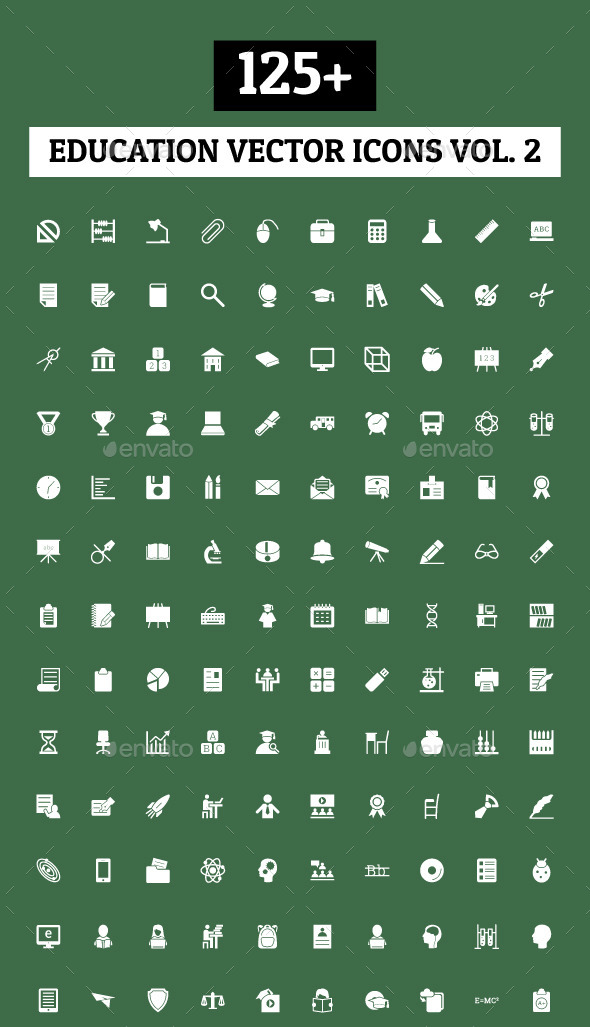 GraphicRiver 125& Education Vector Icons Vol 2 10419861