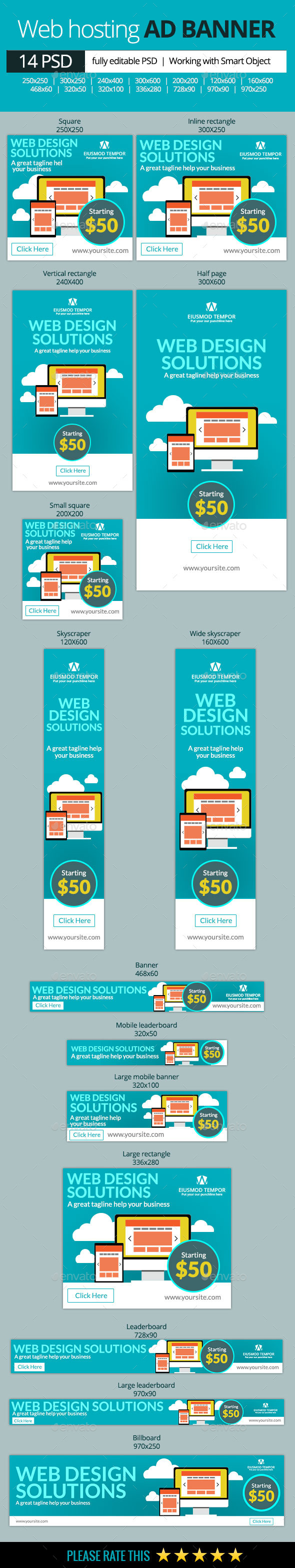 GraphicRiver Web Hosting Banners 10419888