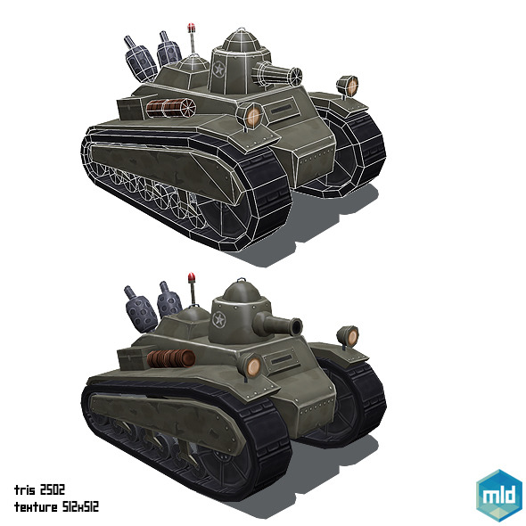 3DOcean Low Poly Cartoon Old Tank 10420898