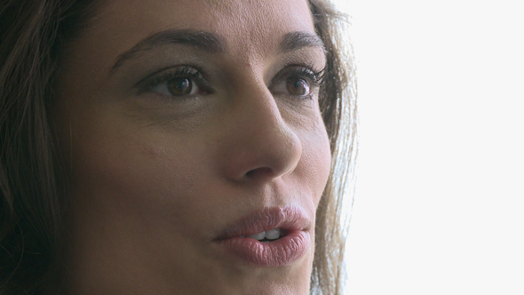 Closeup Of Woman's Face While Conversing