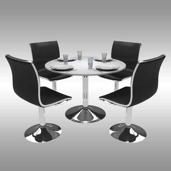 3DOcean Round Dining Table Set 10421861