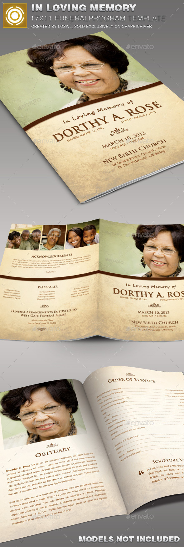 In Loving Memory Funeral Program Template 005 - Informational Brochures