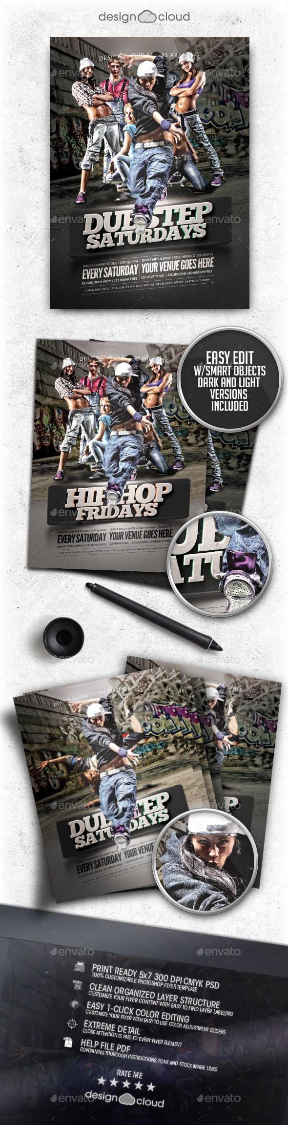 GraphicRiver Hip Hop Dubstep Dance Party Flyer Template 10423233