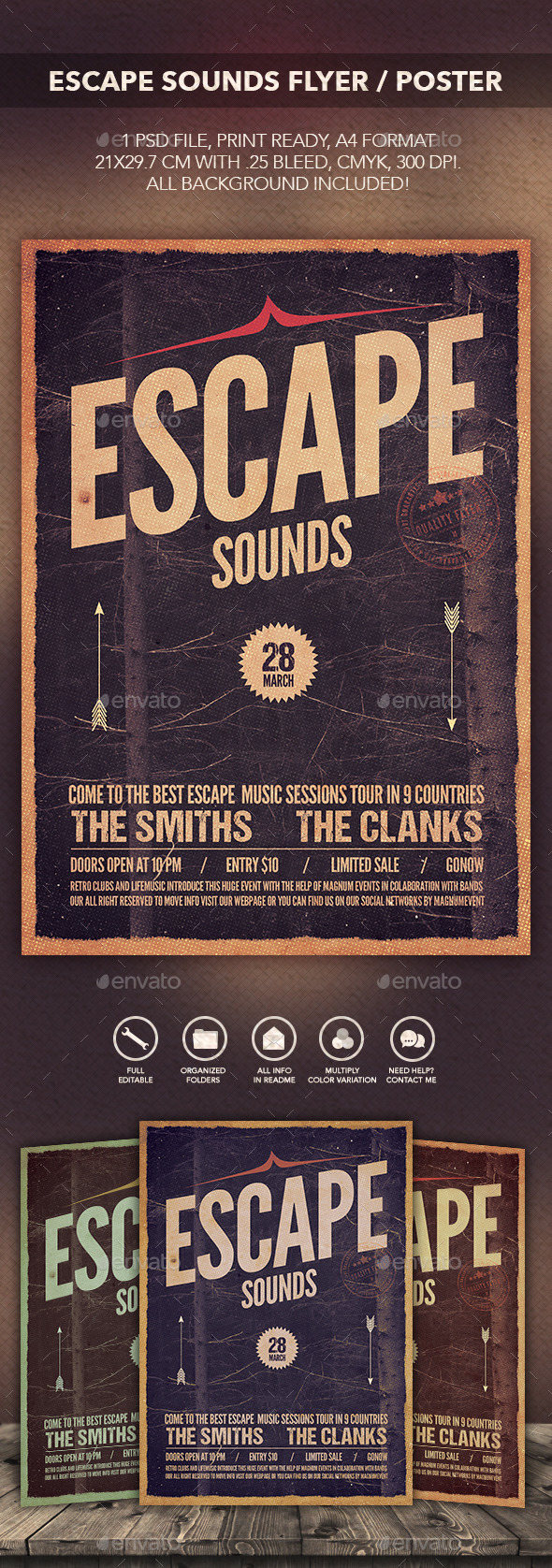 GraphicRiver Escape Sounds Flyer Poster 10423895