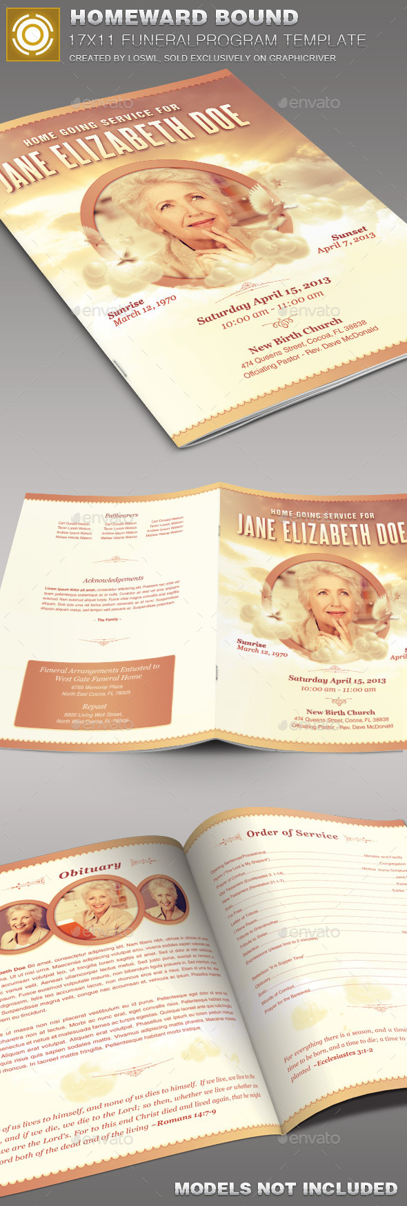 Homeward Bound Funeral Program Template 003 - Informational Brochures