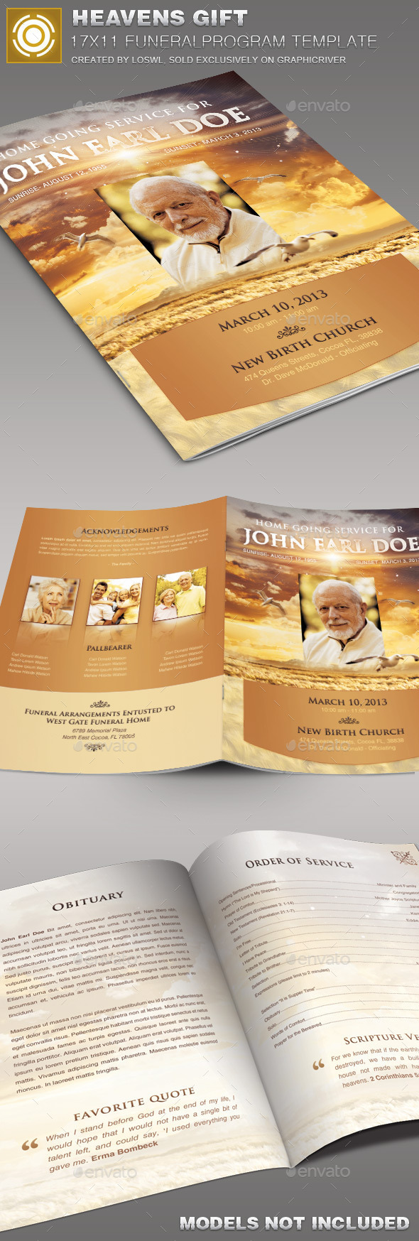 Heavens Gift Funeral Program Template 004 - Informational Brochures