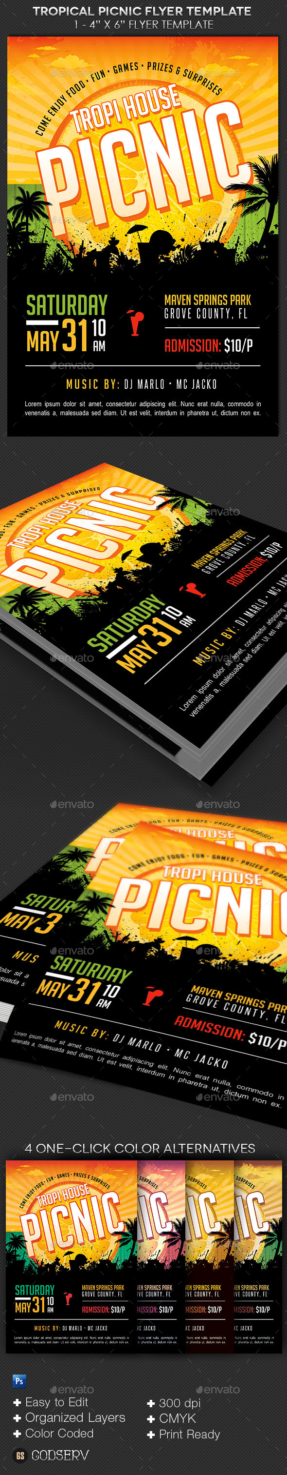 GraphicRiver Tropical Picnic Flyer Template 10424669