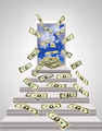 dollars flying out from door with blue sky - PhotoDune Item for Sale