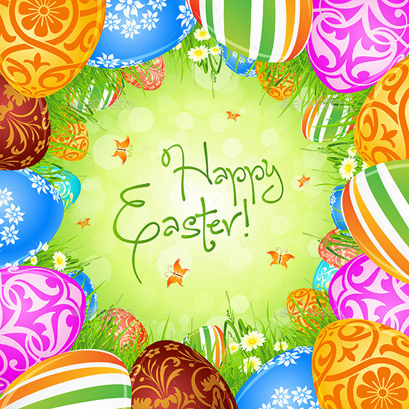 GraphicRiver Easter Eggs in the Grass 10424994