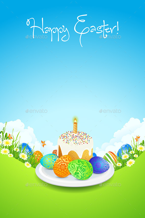 GraphicRiver Easter Card with Landscape Cake and Decorated Egg 10424996