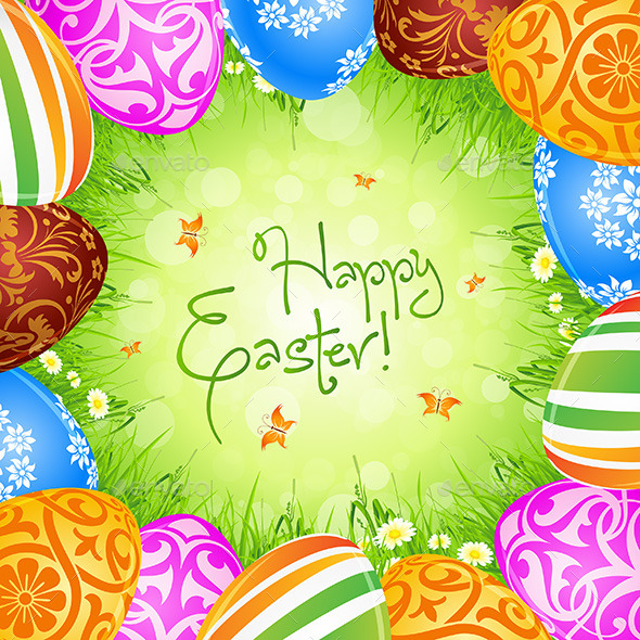 GraphicRiver Easter Eggs and Grass 10424998