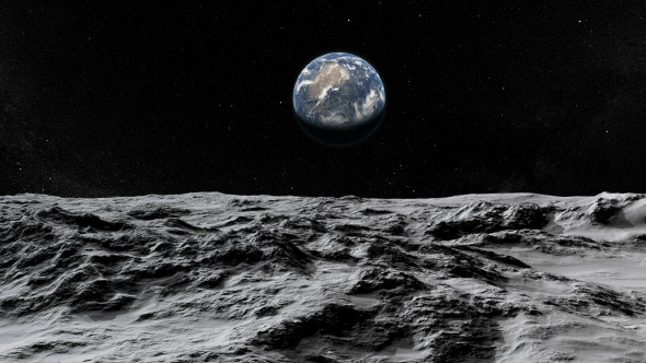 lunar landscape looking at earth - photo #2