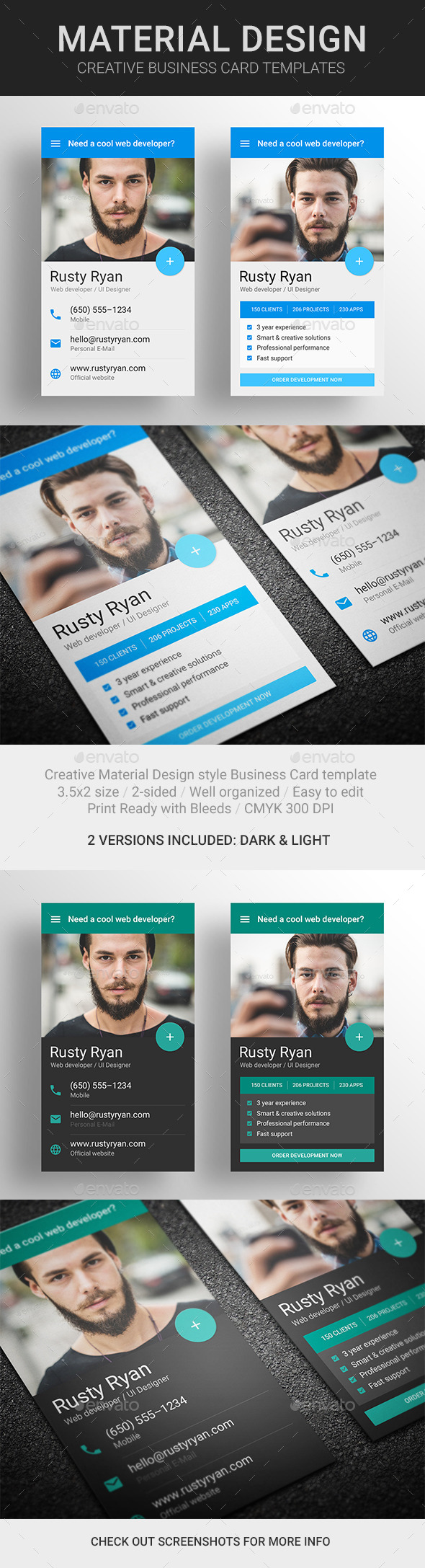 GraphicRiver MaDe Material Design Business Card Template 10425686
