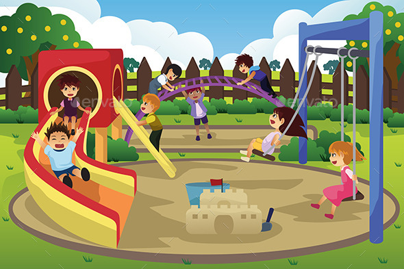 GraphicRiver Children Playing in the Playground 10425758