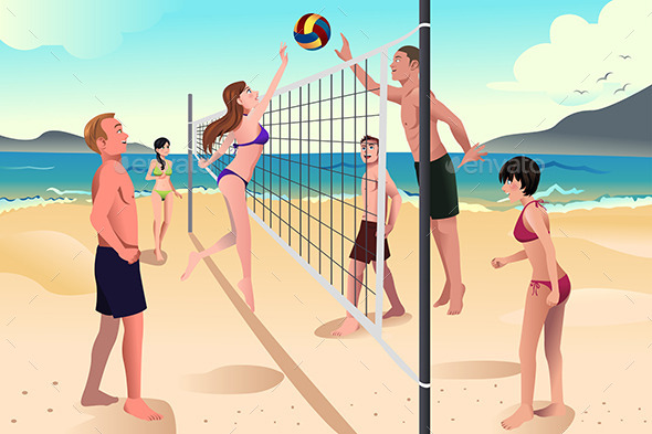 GraphicRiver People Playing Volleyball 10425966