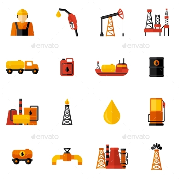 GraphicRiver Oil Industry Icons Flat 10426042
