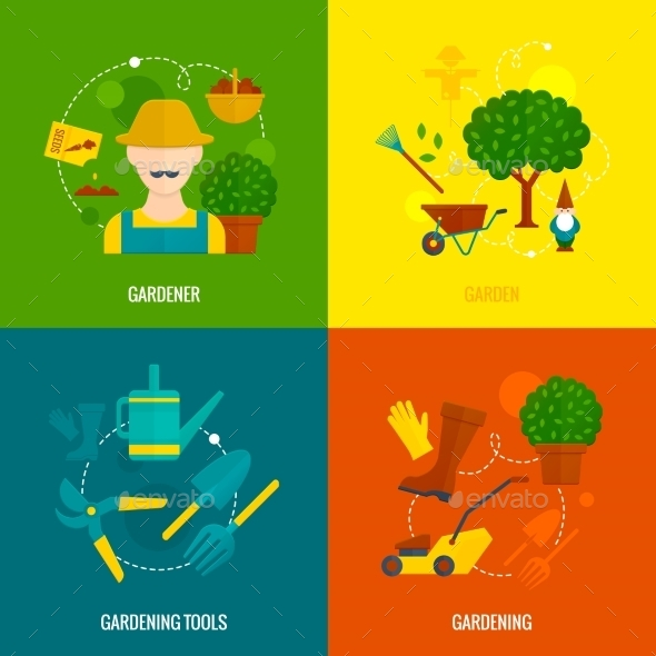 GraphicRiver Vegetable Garden Flat Icons Composition 10426052
