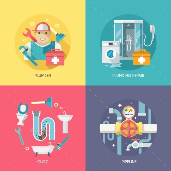 GraphicRiver Plumbing Icons Composition Flat 10426132