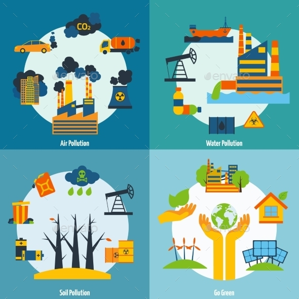 GraphicRiver Pollution And Ecology Set 10426184