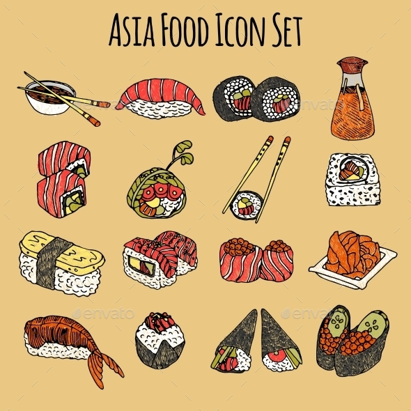 GraphicRiver Asia Food Icon Set Colored 10426277