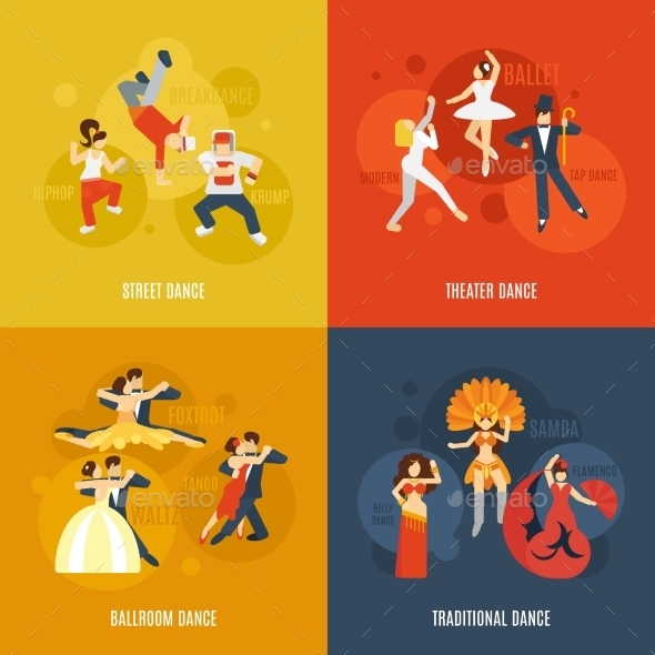 GraphicRiver Dance Flat Set 10426361