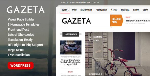 ThemeForest Gazeta Powerful WordPress Magazine Theme 10358200