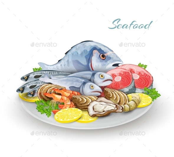 GraphicRiver Seafood Plate Composition 10426522