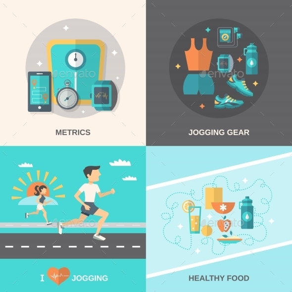 GraphicRiver Jogging Flat Set 10426672