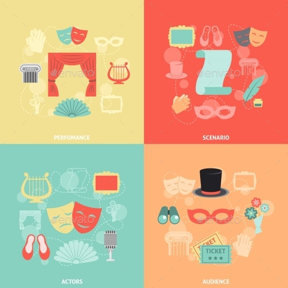 GraphicRiver Theatre Icons Flat 10426697