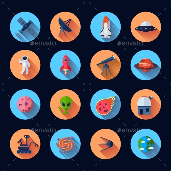 GraphicRiver Space Icons Flat 10427112