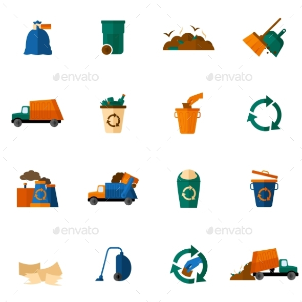 GraphicRiver Garbage Icons Flat 10427208