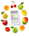 Fresh fruit with a nutrition facts label - PhotoDune Item for Sale