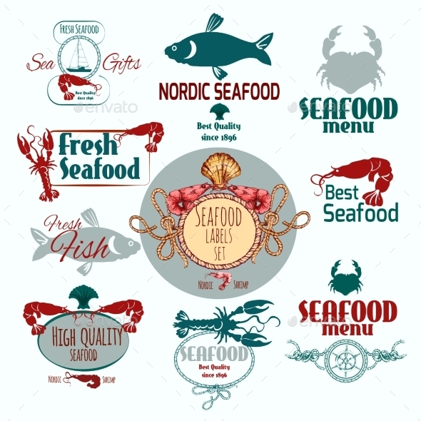 GraphicRiver Seafood Label Set 10427244