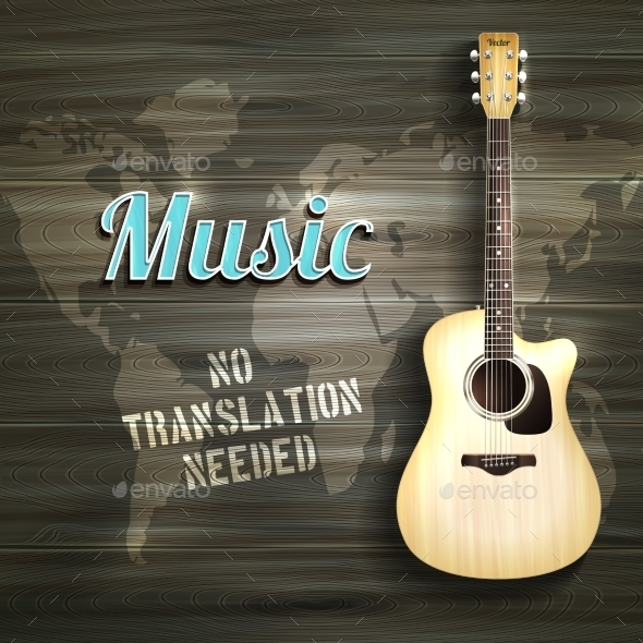 GraphicRiver Guitar Wooden Background 10427268